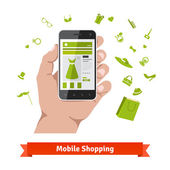 Woman mobile online shopping for accessories and cosmetics Hand holding phone with product page and various retail wares icons