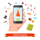 Woman mobile online shopping for accessories and cosmetics Hand holding phone with product page and various retail wares colorful flat icons