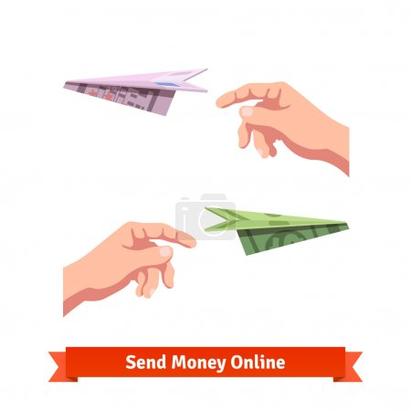 Illustration for Hands throwing a dollar and euro paper planes. Light-minded investment. Flat vector icon. - Royalty Free Image