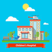 Children hospital flat colorful vector illustration Clinic building with helicopter on the roof Woman with pram