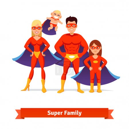 Illustration for Super family. Superhero man father, woman mother, girl daughter and baby. Flat style vector illustration. - Royalty Free Image