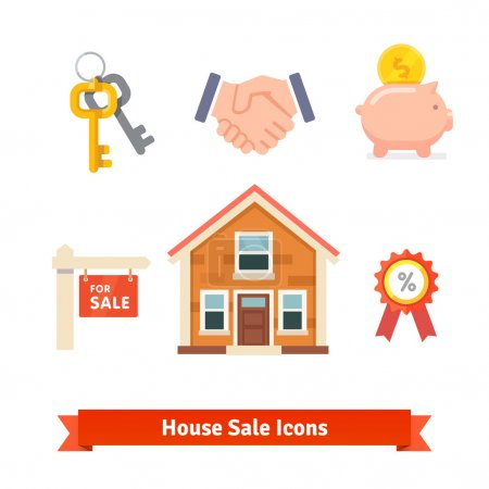 Real estate, house mortgage icons