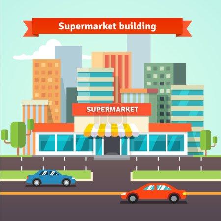 Illustration pour Supermarché au bord de la route ou magasin local et paysage urbain. Illustration vectorielle isolée plate . - image libre de droit