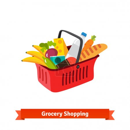Illustration for Red plastic shopping basket full of groceries. Supermarket or local store. Flat isolated vector illustration. - Royalty Free Image