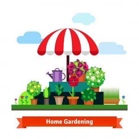 Home greening store with plants, flowers