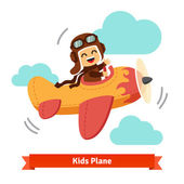 Happy smiling kid flying plane
