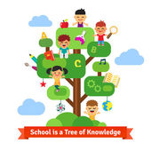 School tree of knowledge and children education Happy kids sitting and learning on a tree full of books and science arts and crafts stuff Flat style vector cartoon