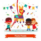 Children celebrating Posada by breaking a traditional donkey shaped Pinata  Flat vector cartoon illustration isolated on white background