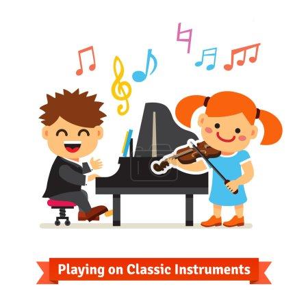 Illustration pour Garçons et filles jouant de la musique classique au piano et au violon ensemble dans un cours de musique. Illustration plate de dessin animé de vecteur d'isolement sur le fond blanc. - image libre de droit