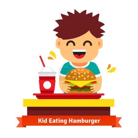 Kind isst am Fast-Food-Tisch
