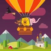 Happy cartoon animals flying on hot air balloon above scenic evening fantasy landscape Bear in the hat lion and elephant Flat vector cartoon background illustration
