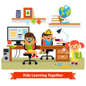 Kids research base concept Children learning and doing projects together in their room with working desk desktop computer files and books Flat vector illustration isolated on white background