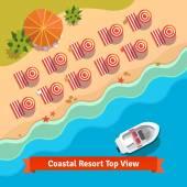 Coastal resort beach sea and boat