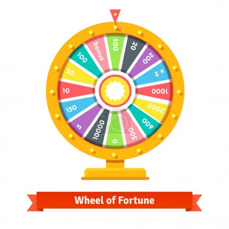 Illustration for Wheel of fortune with number bets. Flat style vector illustration isolated on white background. - Royalty Free Image