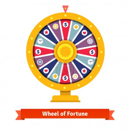 Illustration for Wheel of fortune with bets icons. Flat style vector illustration isolated on white background. - Royalty Free Image