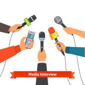 Journalism concept Microphones and voice recorder