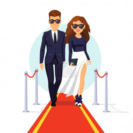 Photo for Two rich and beautiful celebrities walking on a red carpet. Flat style vector illustration isolated on white background. - Royalty Free Image
