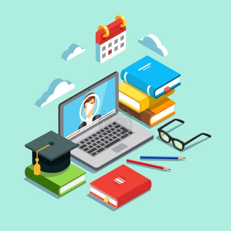 Illustration for Online education concept. Laptop with opened text document next to stacked books, mortar board student cap, pencils and glasses. Flat style vector illustration isolated on cyan background - Royalty Free Image