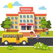 School building bus and students children