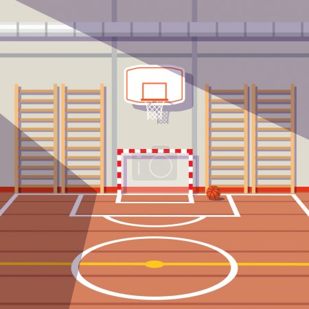 Sun lit school or university gym hall with soccer goal and basketball hoop. Flat style vector illustration