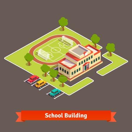 Illustration pour Campus universitaire ou bâtiment scolaire isométrique avec terrain de football dans la cour et parking. Illustration vectorielle de style plat isolée sur fond blanc . - image libre de droit