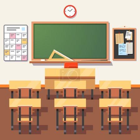 Illustration pour Salle de classe vide avec tableau vert, bureau des enseignants, tables d'élèves et chaises. Illustration vectorielle de style plat isolée sur fond blanc - image libre de droit
