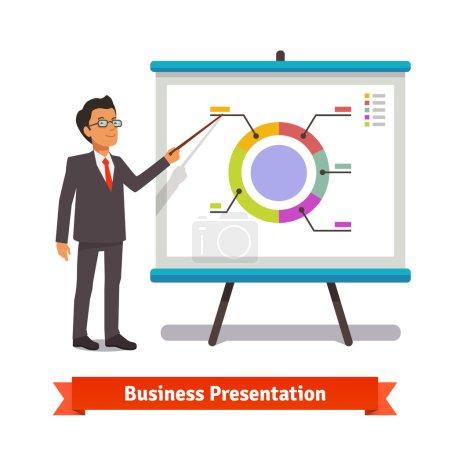 Businessman making presentation explaining charts