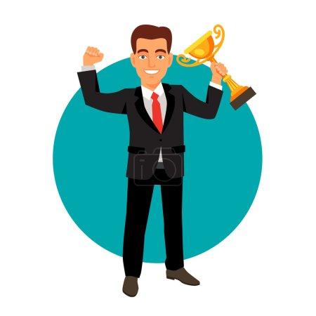 Celebrating businessman holding winner cup