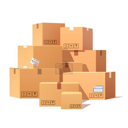 Ilustración de Pila de cajas de cartón apiladas mercancías selladas. Ilustración de vector de estilo plano aislado sobre fondo blanco. - Imagen libre de derechos