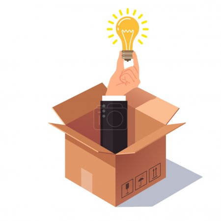 Illustration for Thinking out of the box concept. Hand in business suit sticking from cardboard packing and holding lightbulb symbolizing new idea. Flat style vector illustration isolated on white background. - Royalty Free Image