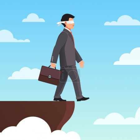 Illustration for Leap of faith concept. Blindfolded businessman walks off the cliff. Flat style vector illustration. - Royalty Free Image