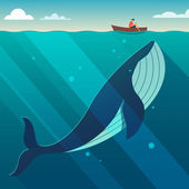 Huge white whale under the small boat Hidden power concept Flat style vector illustration