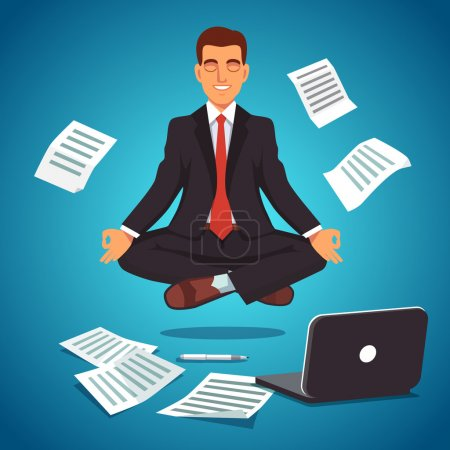 Illustration for Young businessman executive in nice suit and red tie meditating and levitating in yoga position. Flat style vector illustration isolated on white background - Royalty Free Image