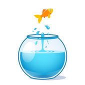 Strong goldfish jumping out of fishbowl
