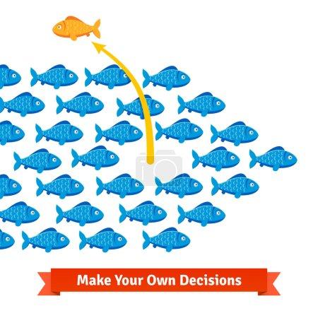 Illustration pour Concept d'entrepreneur. Les poissons indépendants se détachent de son haut-fond. Illustration vectorielle de style plat isolée sur fond blanc . - image libre de droit