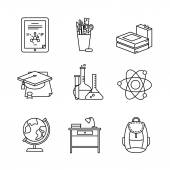Education learning and school thin line art icons set Modern flat style symbols isolated on white for infographics or web use