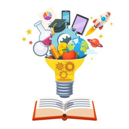 Illustration pour Ampoule avec des engrenages à l'intérieur flottant sur grand livre éclatant de nouvelles idées. Concept d'éducation. Illustration vectorielle de style plat isolée sur fond blanc - image libre de droit
