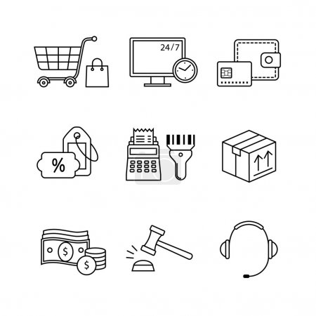 internet commerce and shopping icons set