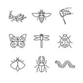 Insects thin  art icons set