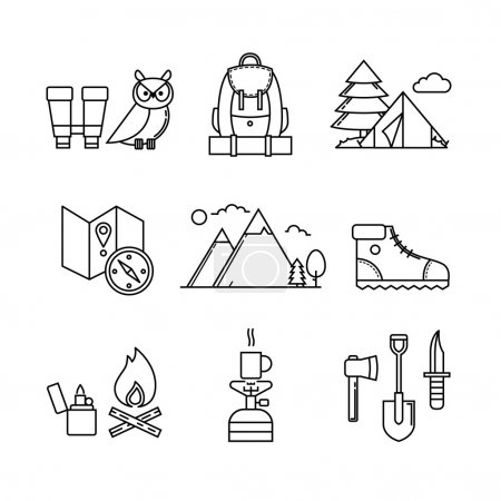 Illustration for Forest and mountains hiking thin line art icons set. Modern black symbols isolated on white for infographics or web use. - Royalty Free Image