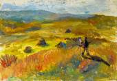 Beautiful Original Oil Painting of autumn landscape the artist paints a picture at sunset
