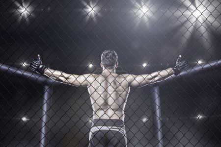 Photo for Mma fighter in cage celebrating win, view from behind - Royalty Free Image