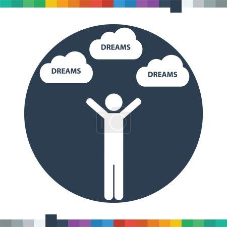 Illustration pour Figure de bâton mâle plat atteignant avec les deux mains pour son icône de rêves dans un cercle . - image libre de droit