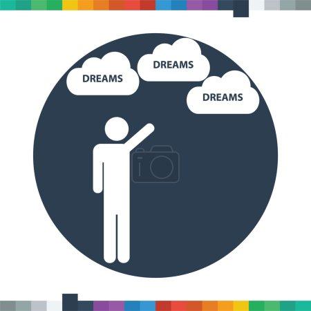 Illustration pour Figure de bâton mâle plat atteignant pour son icône de rêves dans un cercle . - image libre de droit