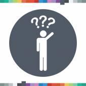 Male stick figure asking a question