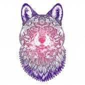 Ornamental Lilac Tattoo Wolf Head