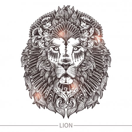 Illustration for Ornamental Tattoo Lion Head. Highly Detailed Abstract Hand Drawn Style - Royalty Free Image
