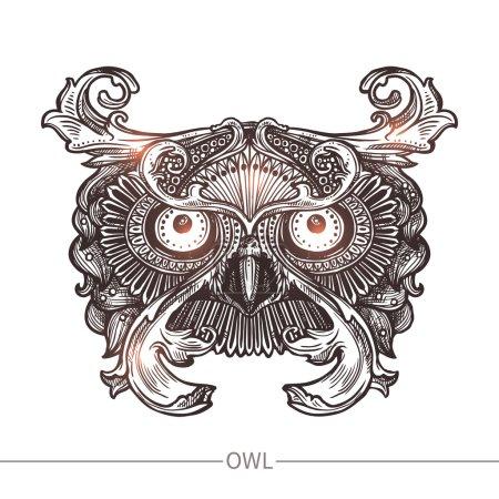 Ornamental Tattoo Owl Head