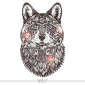 Ornamental Tattoo Wolf Head