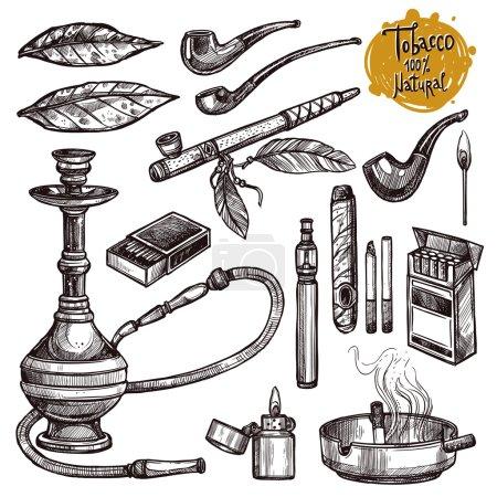 Illustration pour Ensemble de croquis sur le tabac et le tabagisme. Dessiné à la main . - image libre de droit